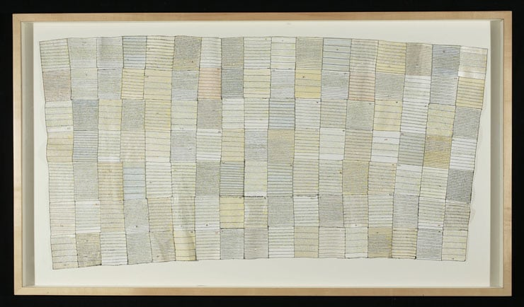 What Was Beautiful , 1-119 (total projected: 365), stitching and collage on paper, 74 in x 36 in, 1999-ongoing.