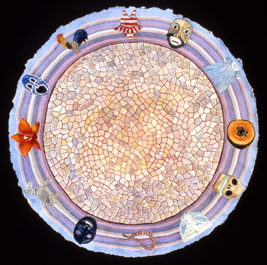 ¨Zodiac¨ , watercolor on paper, 36 in diameter, 1998.