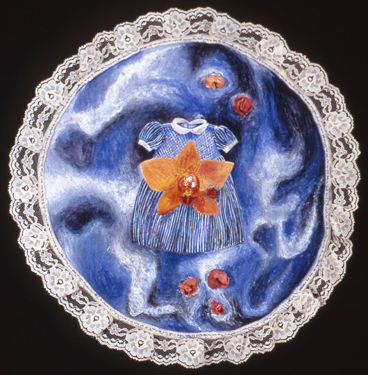 ¨Floating¨ , watercolor, cloth, lace on paper with stitching, 11.5 in diameter, 1997.