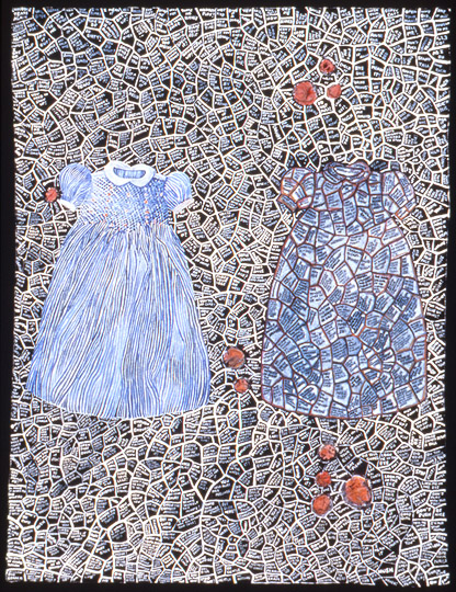 ¨Blackboard¨ , watercolor on paper with fabric and stitching, 27 in x 20 in, 1997.