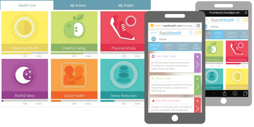 """RapidHealth initially launched with the """"Health Core"""" as the landing page once a user logged in."""