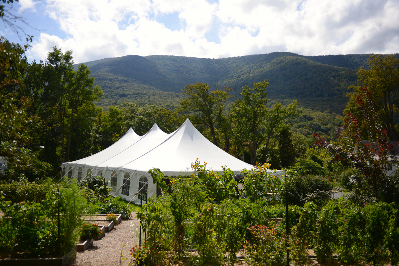 Wedding tent with mountain view