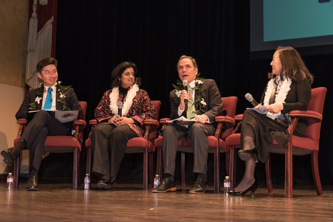 DISCUSSING PARALLELS — John Diaz (center right) moderates a panel discussion with (from L to R) Grande H. Lum, Farhana Khera and Lorraine Bannai on World War II anti-Japanese rhetoric and current anti-Muslim rhetoric. photo by Bob Hsiang