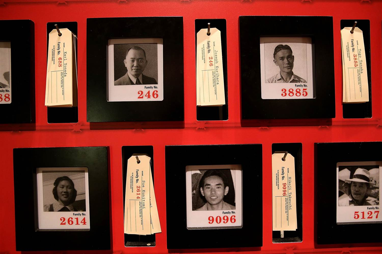 Pictures of people who were incarcerated at Manzanar War Relocation Center are displayed alongside family tags at Manzanar National Historic Site on December 9, 2015 near Independence, California. Justin Sullivan / Getty Images