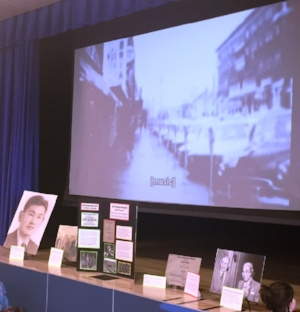 """A traveling display on the """"story of the man behind the name"""" in honor of Korematsu Day of Civil Liberties and the Constitution at Korematsu Middle School in El Cerrito.Tom Lochner"""