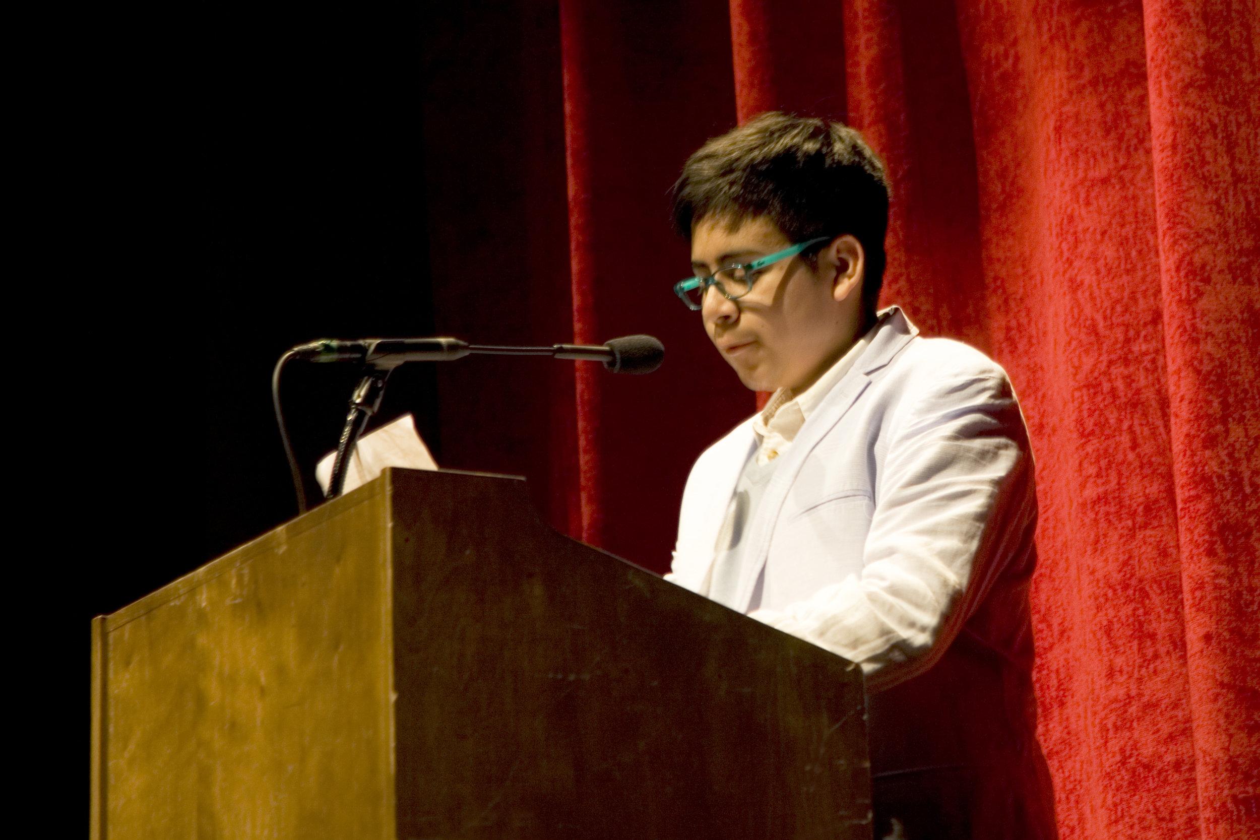 Speech contest winner Ethan Garcia from Fred T. Korematsu Middle School