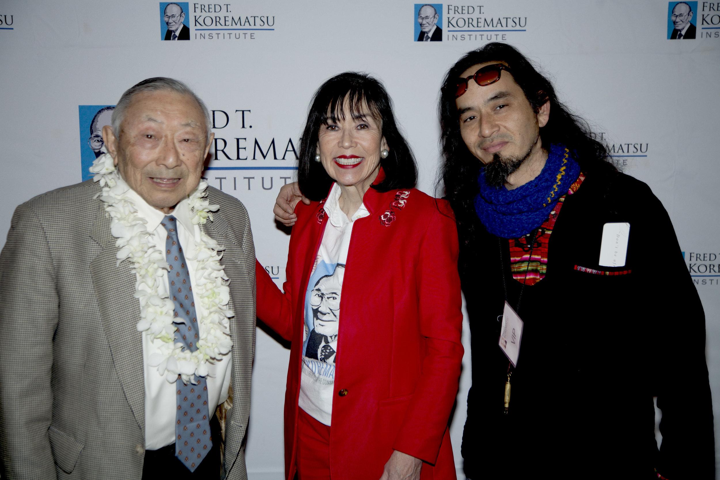 Hiroshi Kashiwagi, Karen Korematsu, and San Francisco hip hop artist and activist Equipto