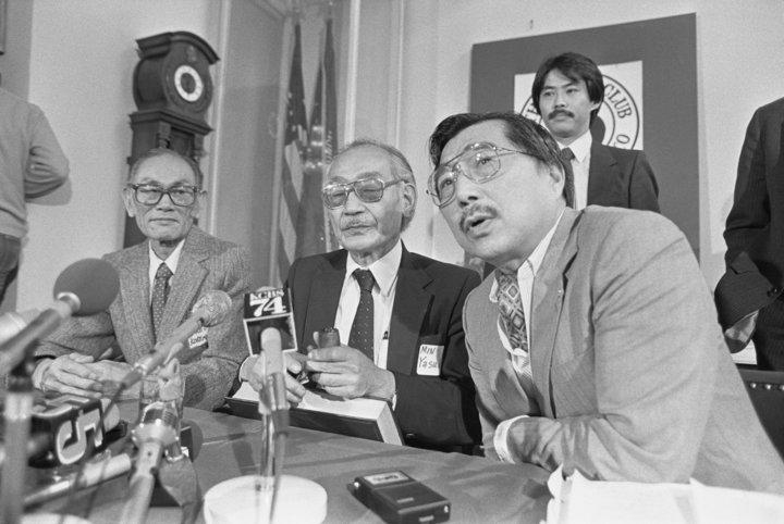 Bettmann via Getty Images    Fred Korematsu, Minoru Yasui and Gordon Hirabayashi, three Japanese-American civil rights advocates who challenged U.S. government policy during World War II.