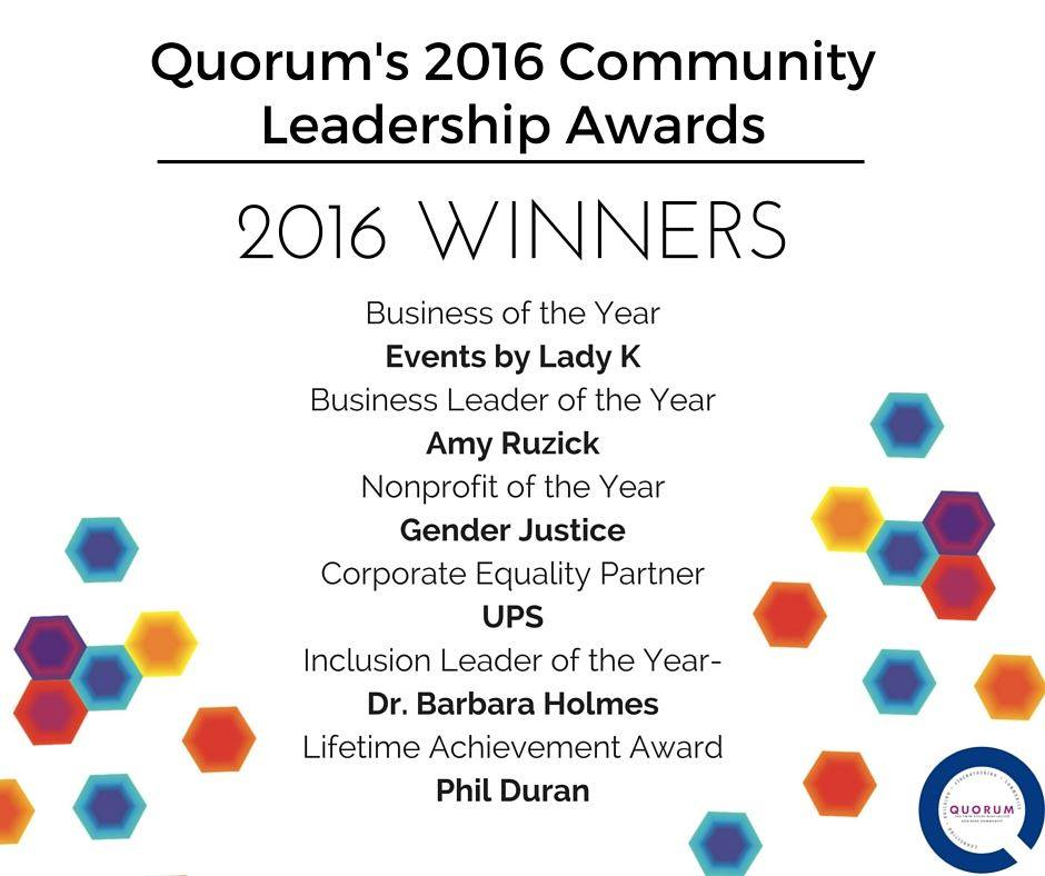 We are honored to have won Quorum's 2016 Nonprofit of the Year Award for our LGBTQ advocacy work!