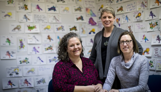 """Executive Director Megan Peterson, left, with Gender Justice Co-Founders and Senior Counsel Jill Gaulding, center, and Lisa Stratton, right.Photo by Renee Jones Schneider, renee.jones@startribune.com .From the Star Tribune article by Stephen Montemayor, """"Using law and science, a St. Paul nonprofit tests big gender questions,"""" Feb 6, 2017."""