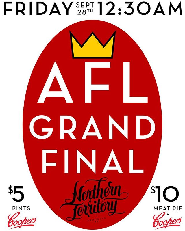 We will be showing the AFL Grand Final This Friday evening @ 12:30am | First come, first served! $5 Coopers Drafts and $10 Coopers & Pie Specials  #🏈