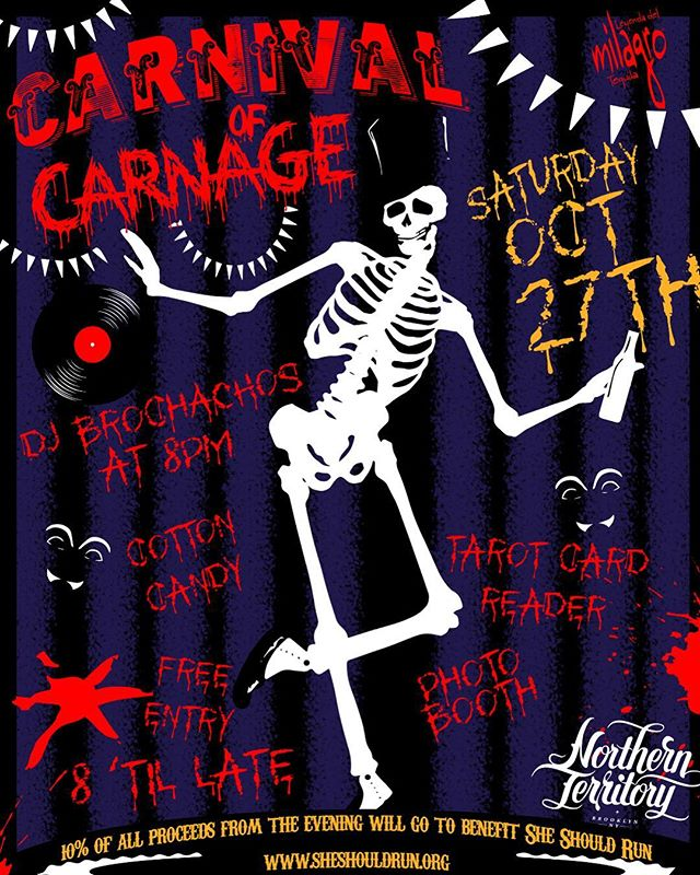 🎃 Come celebrate Halloween with us this Saturday evening, the 27th at our Carnival of Carnage 🔪 ! 21+ | We have Tarot card readers 🔮 | the Brochachos are spinning til' late | a GIF photo booth 🎡 | a specialty cocktail menu courtesy of @milagrotequila and much much more 🤡 | Best of all: NO COVER We will also be donating 10% of all proceeds from the evening to @sheshouldrun - a nonpartisan, nonprofit that give females community, guidance and support to run for office. Check them out! #250kby2030