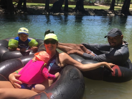 My family floating the river the day after we ran the Tough Mudder '17!