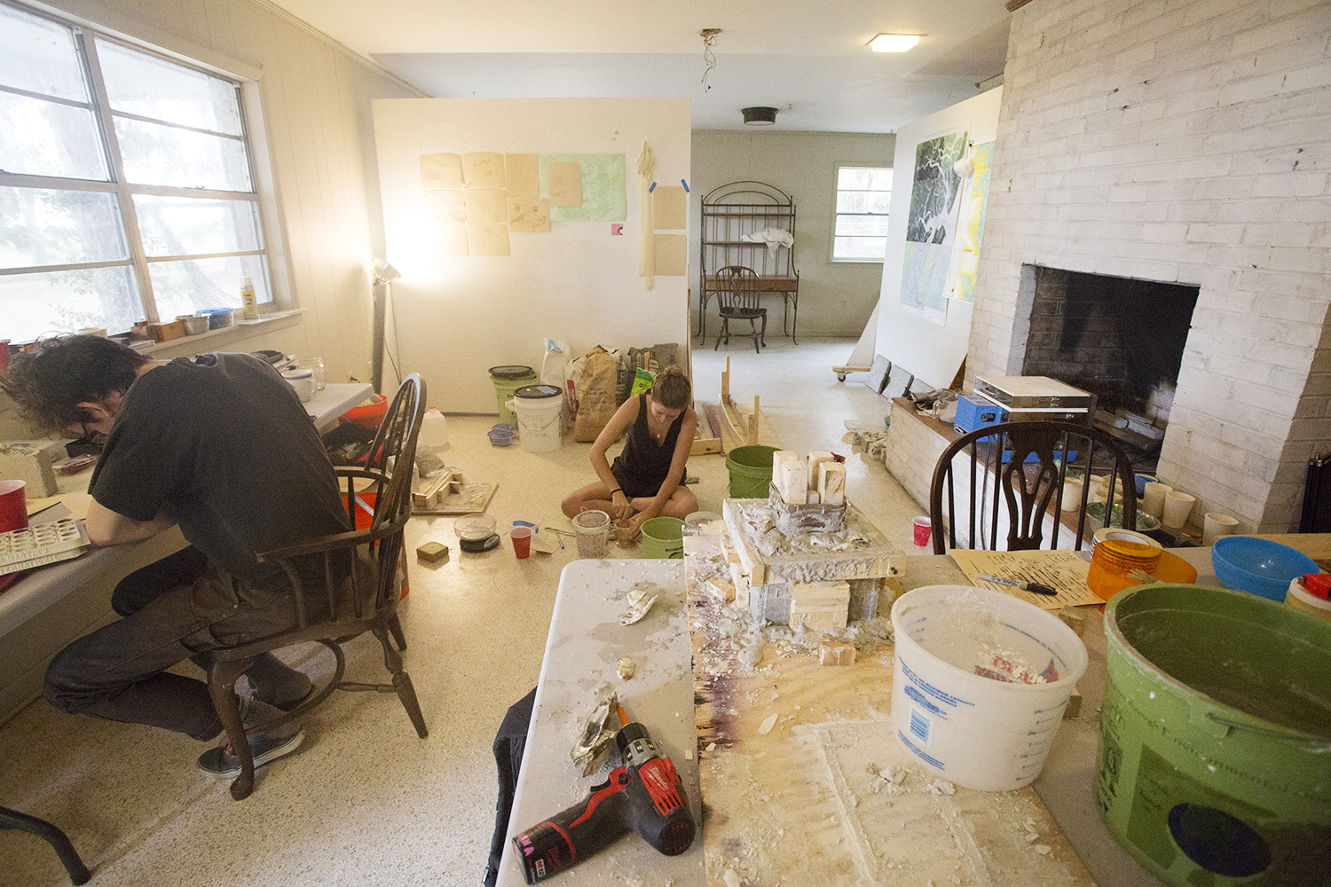 Sam Ihrig and Anna Riley, 2016 residents at work. Photo: Ansley Rivers.