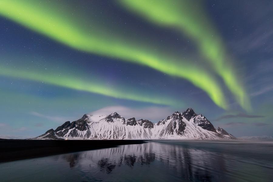 Northern lights over Vestraborn mountains