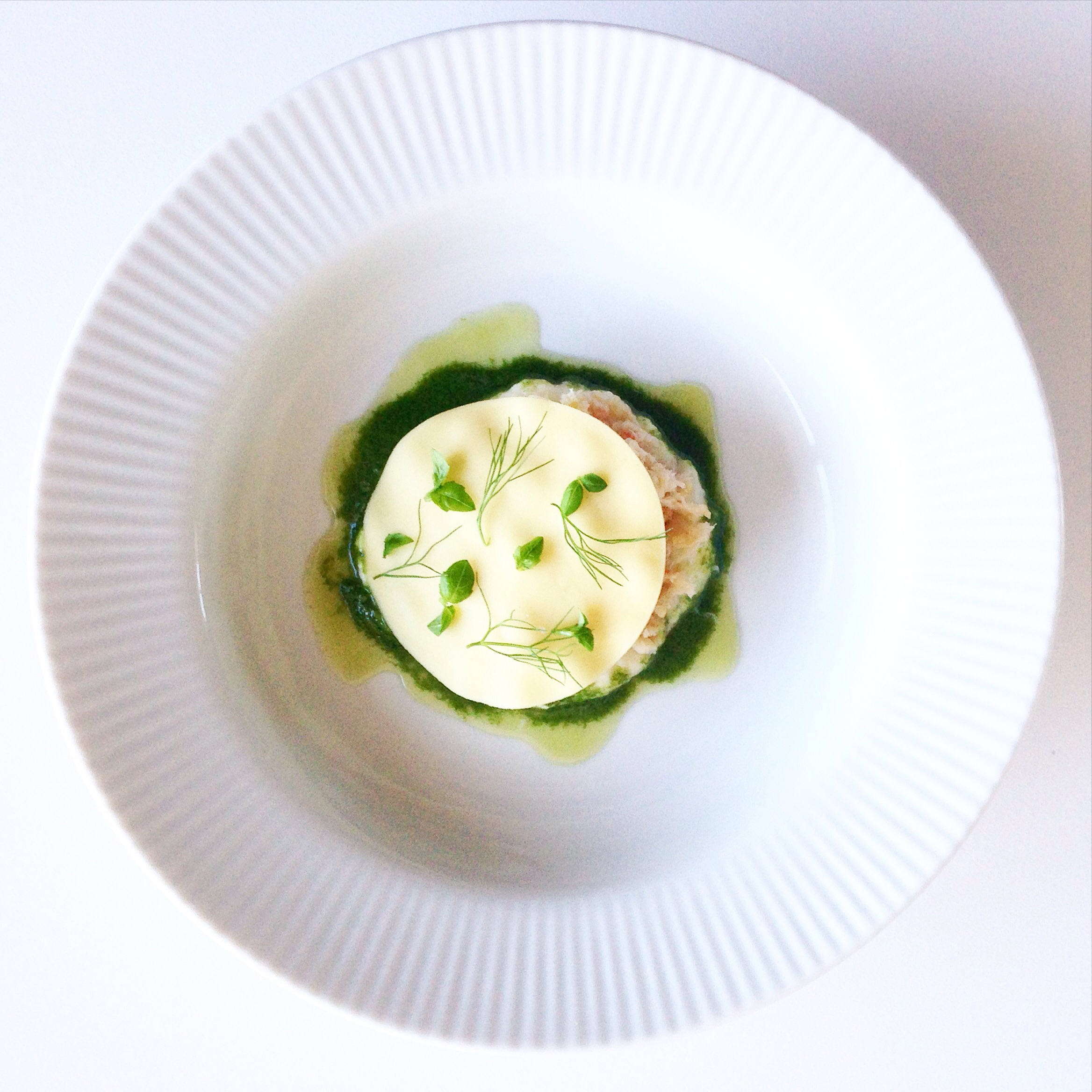 Open ravioli with celeriac, crab, and basil