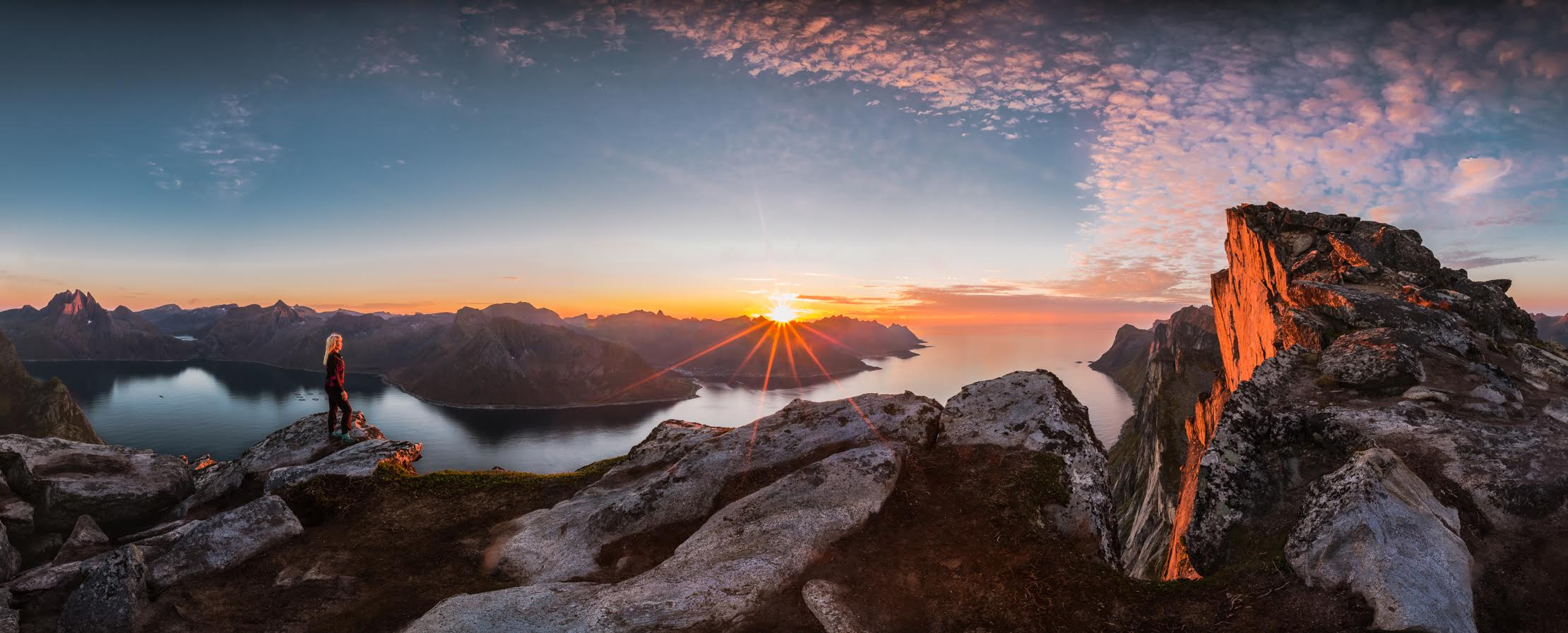 "Epic view  - ""Panorama view from the top of Segla Mountain at Senja Island - Troms. Taken at the Autumnal Equinox this September. There are such breathtaking views from the top of Segla showing the beautiful Senja Mountains and fjords."""