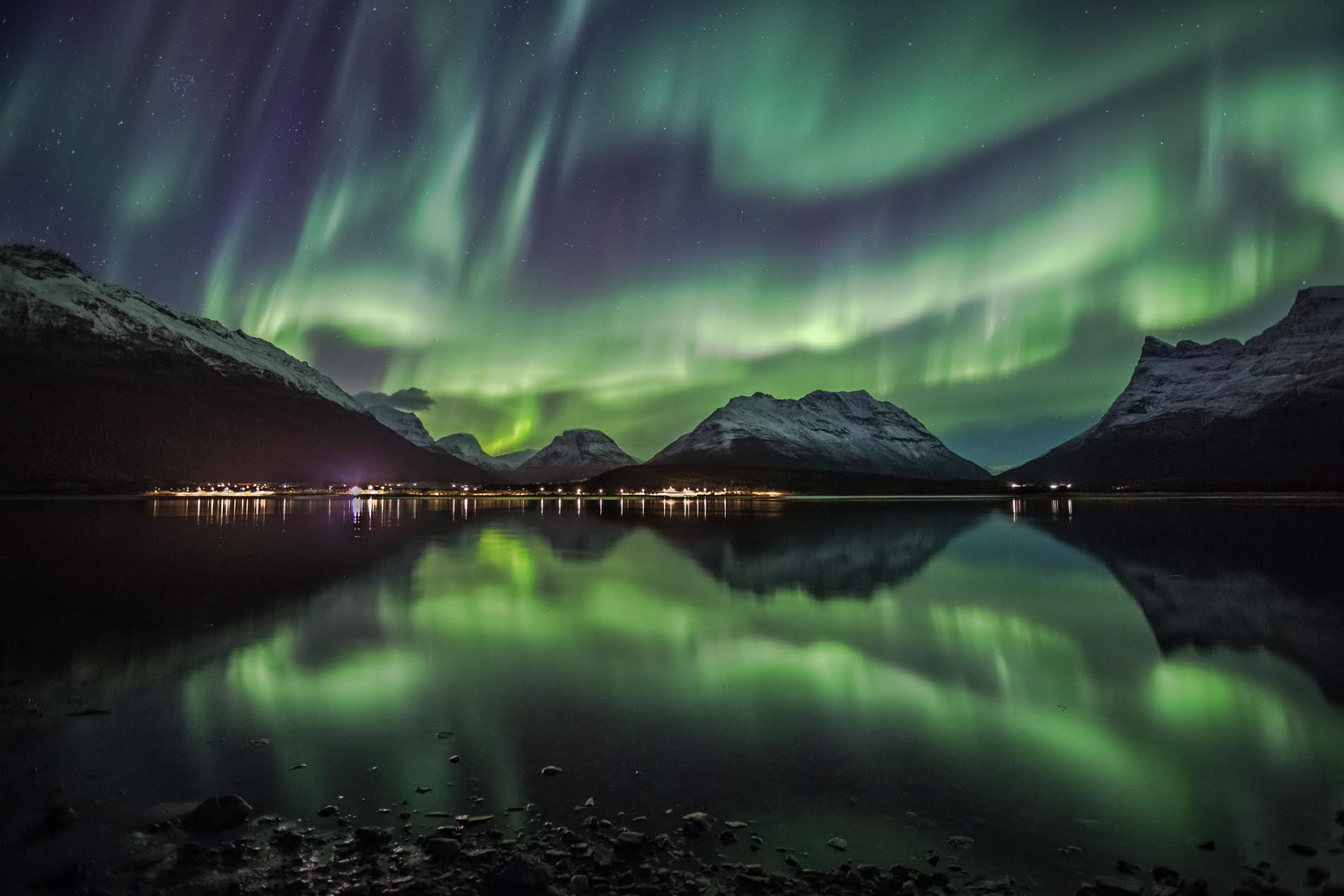 "Green Reflections  - ""A magical night by the fjord! The green lights were dancing all over the sky at great speed. Location Storfjord Troms."""