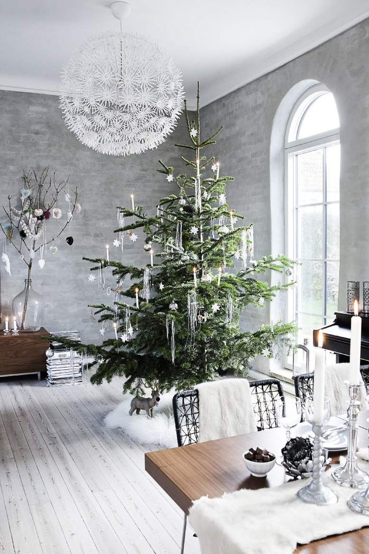 Truly elegant tree decoration on show here! Simple colour schemes, some unique icicle decorations and a cosy rug under the tree.   Image source