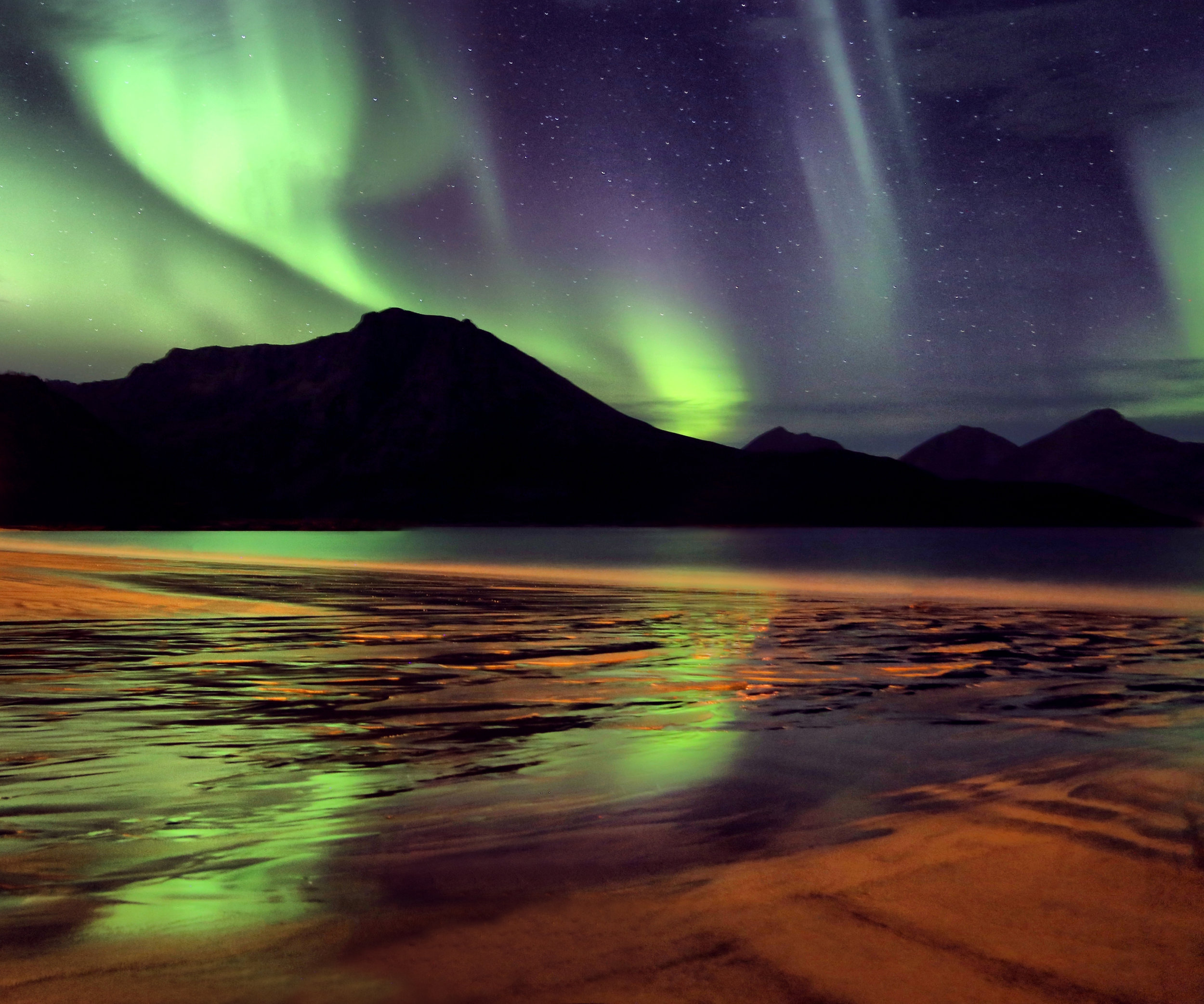 The stunning northern lights in northern Norway, near the city of Tromsø .