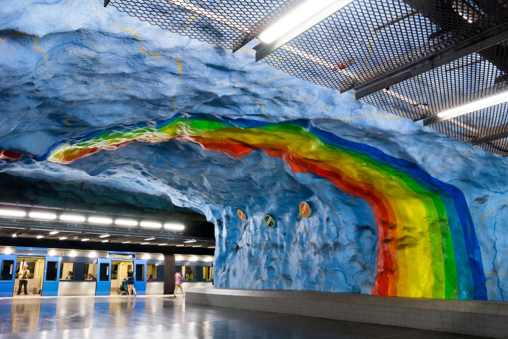 Rainbow flag painting portrayed at Stockholm's Stadion metro station.  Photo credit: Kevin Kee Pil Cho/imagebank.sweden.se)