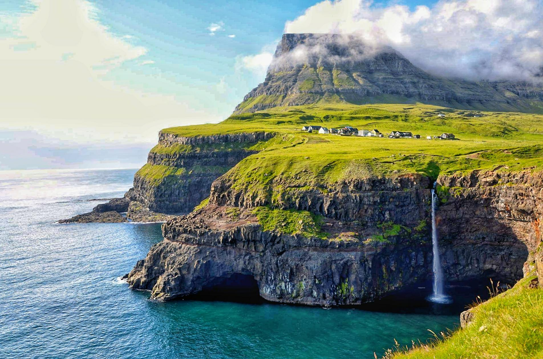 Gásadalur -a village located on the west side of Vágar, with stunning panoramic view over to the island of Mykines.