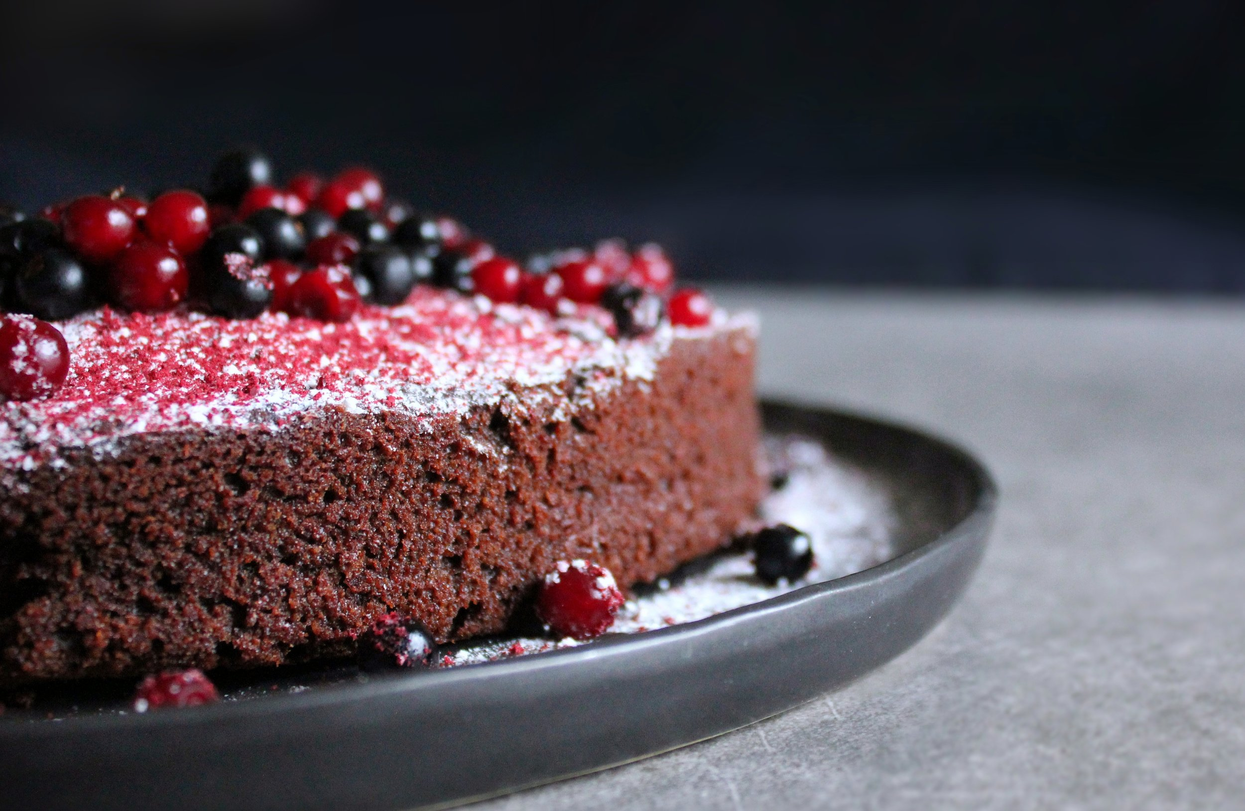 """This Is without a doubt my favourite chocolate cake with beetroot, lingonberries and crowberries"""