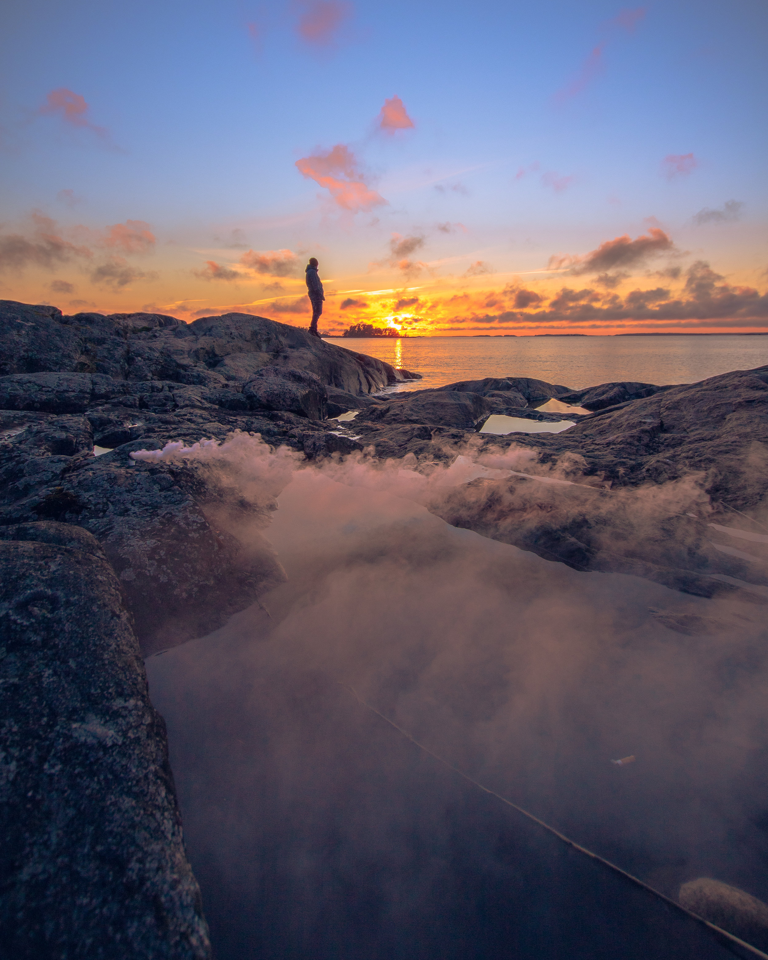 Trying some smoke at sunset, i get these ideas sometimes. Photo taken on the North side of Hangö