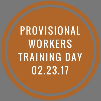 Click on image to register for the Provisional Workers Training Day.