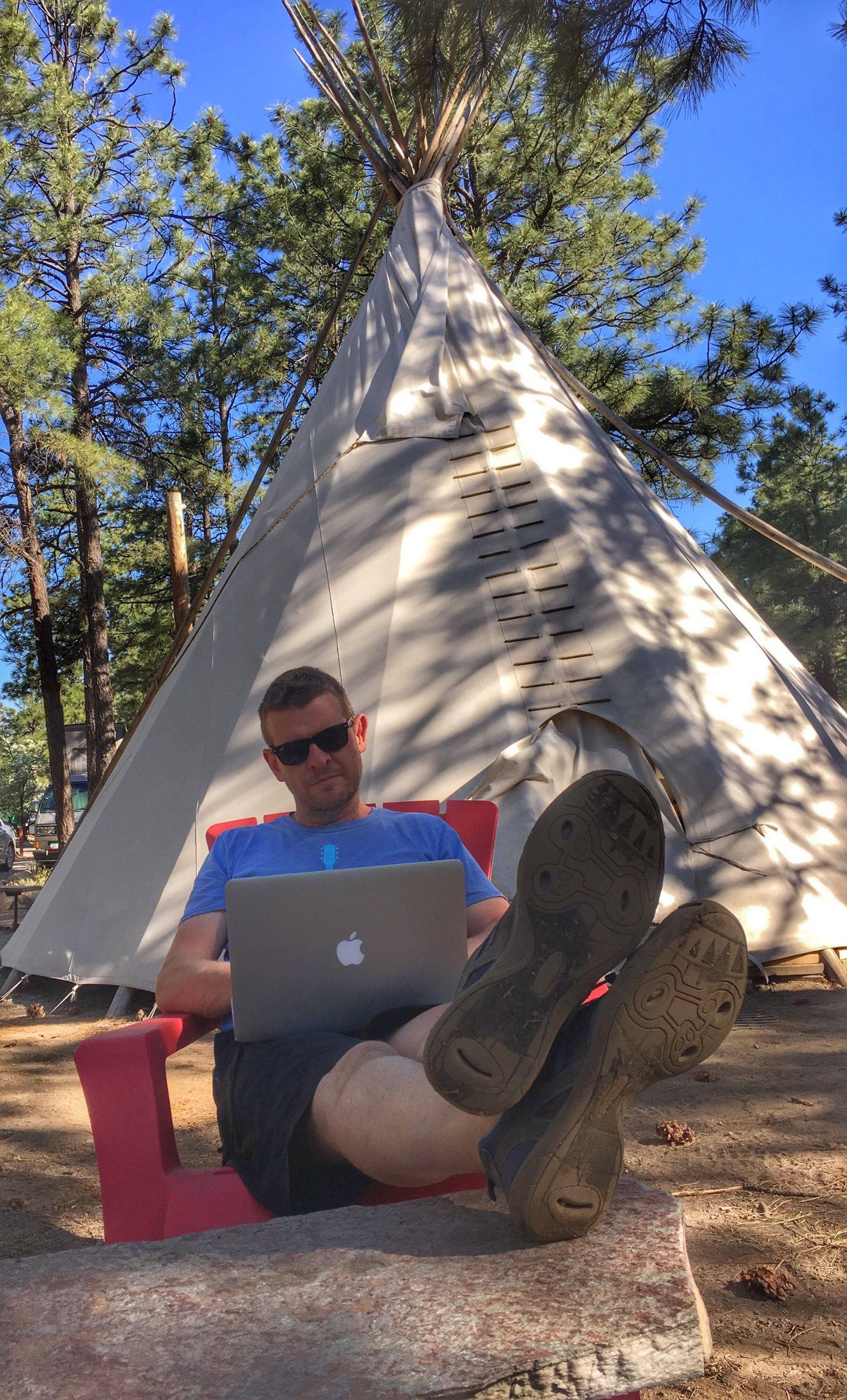 Working remotely from a teepee