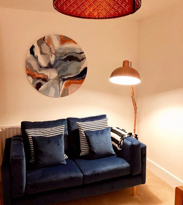 Commission - coppers, greys and blues looking fab in the client's livingroom. . . . 📷@johnson2903  #contemporaryart #abstractart #emergingartist #commission #velvetsofa #interiors #ukartist #showyourwork #painting #mixedmedia
