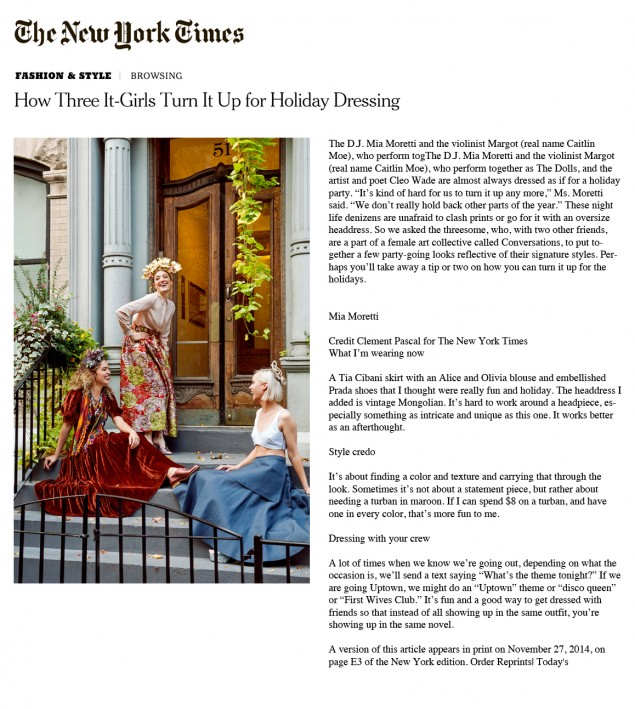 Nov. 2104 NEW YORK TIMES HOW THREE IT-GIRLS TURN IT UP FOR HOLIDAY DRESSING.jpg