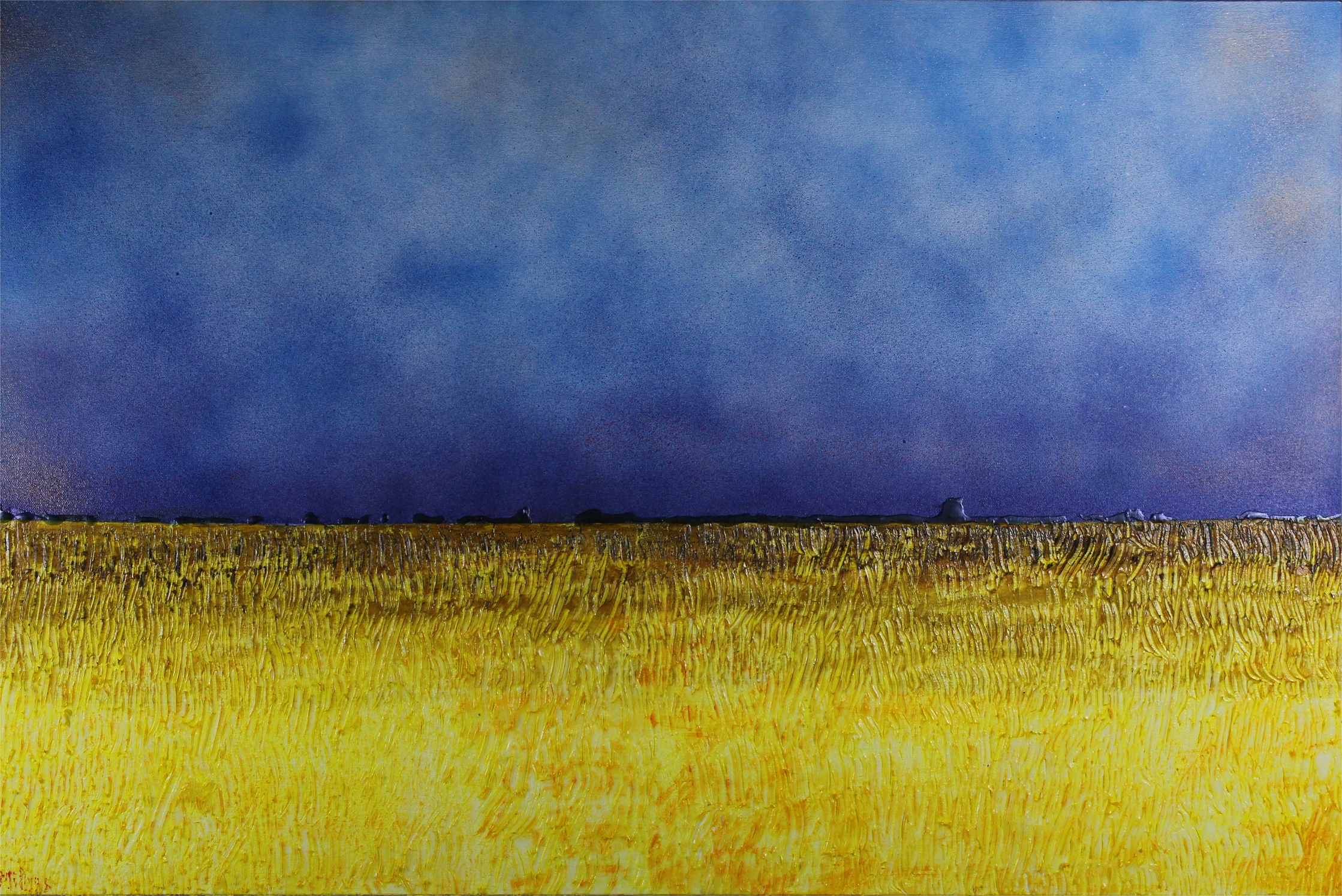 July Evening    36x24x2 Acrylic. SOLD   A distinctly prairie scene as evening approaches over the fields, the distance darkens while it is still sunny overhead. A tree line in the distance gives some feeling of proportion, of the wide open spaces of the Canadian prairies.