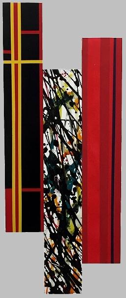 Homage 2 3. 9x23, acrylic mixed media on three cradled panels.