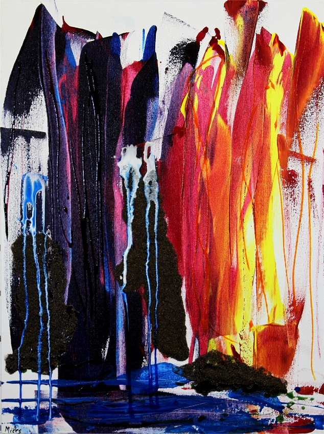 """Waterfalls at Sunset    21x28x3, acrylic mixed media SOLD   This colourful piece was more of an experimentation and is less """"goopy"""" with acrylic media than many of my recent ones. I used heavy applications of sandblasting grit to provide texture and the impression of rocks."""