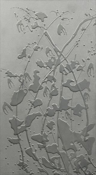Molten Silver Leaves, acrylic, 24x30,$540.