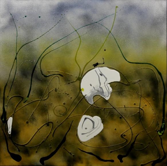 The Eternal Battle, acrylic mixed media, 36x36, SOLD