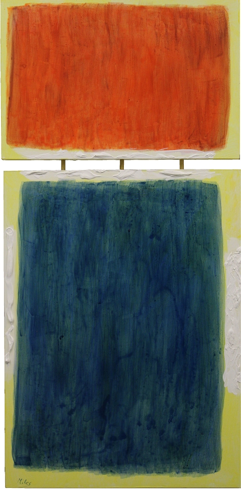 Homage 2 1    24x40, acrylic on board with brass rods, $640.   I have done a small series of paintings as homages to the American abstract painters of the 2950s and 1960s. This is intended to evoke the work of Mark Rothko, one of the founders of color field painting, although this isn't a field of paint.