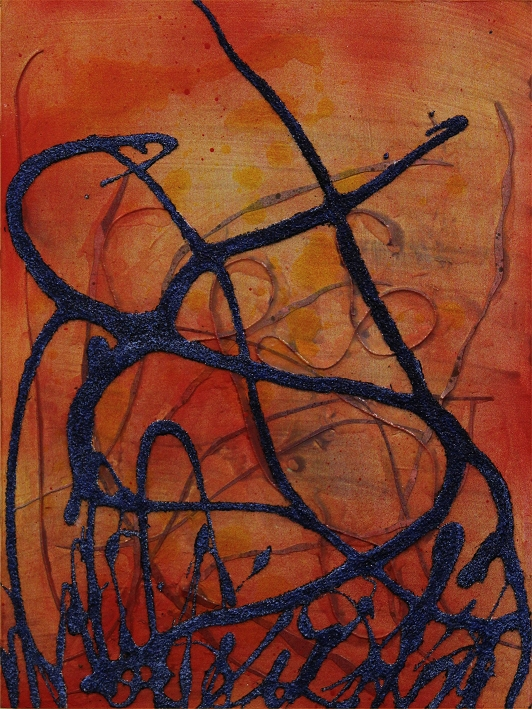 Prussian Blue on Orange, 16x20, Acrylic mixed media on board. SOLD   This is the last of my Panel Discussion pieces. We were to use Prussian Blue on a smallish board, so I did. I also used strips of Yupo and canvas threads covered in a vibrant yellow-orange. The heavy lines are grit, somehow I got the blue to be sparkly!