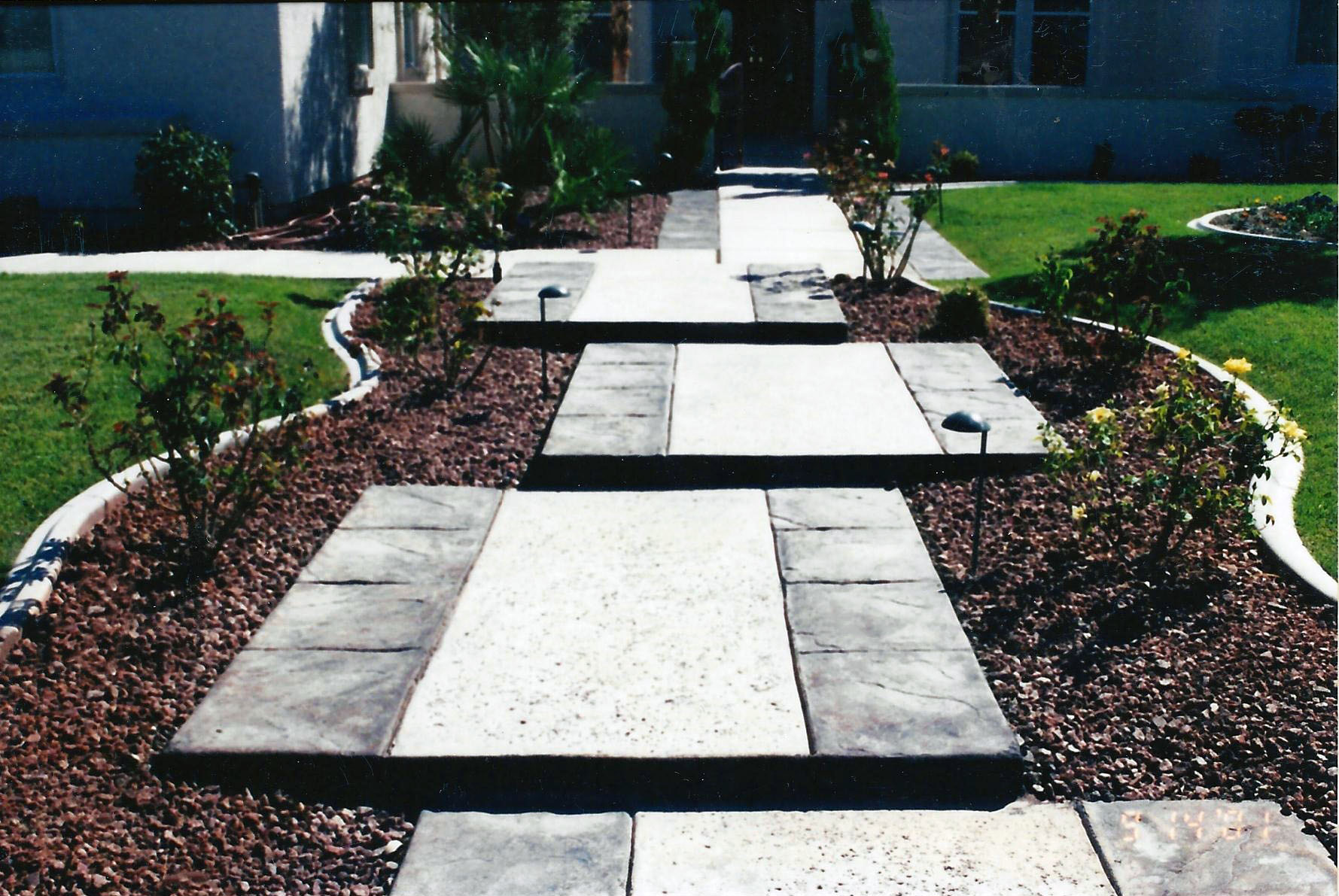 Stained and Stamped Concrete Walkway