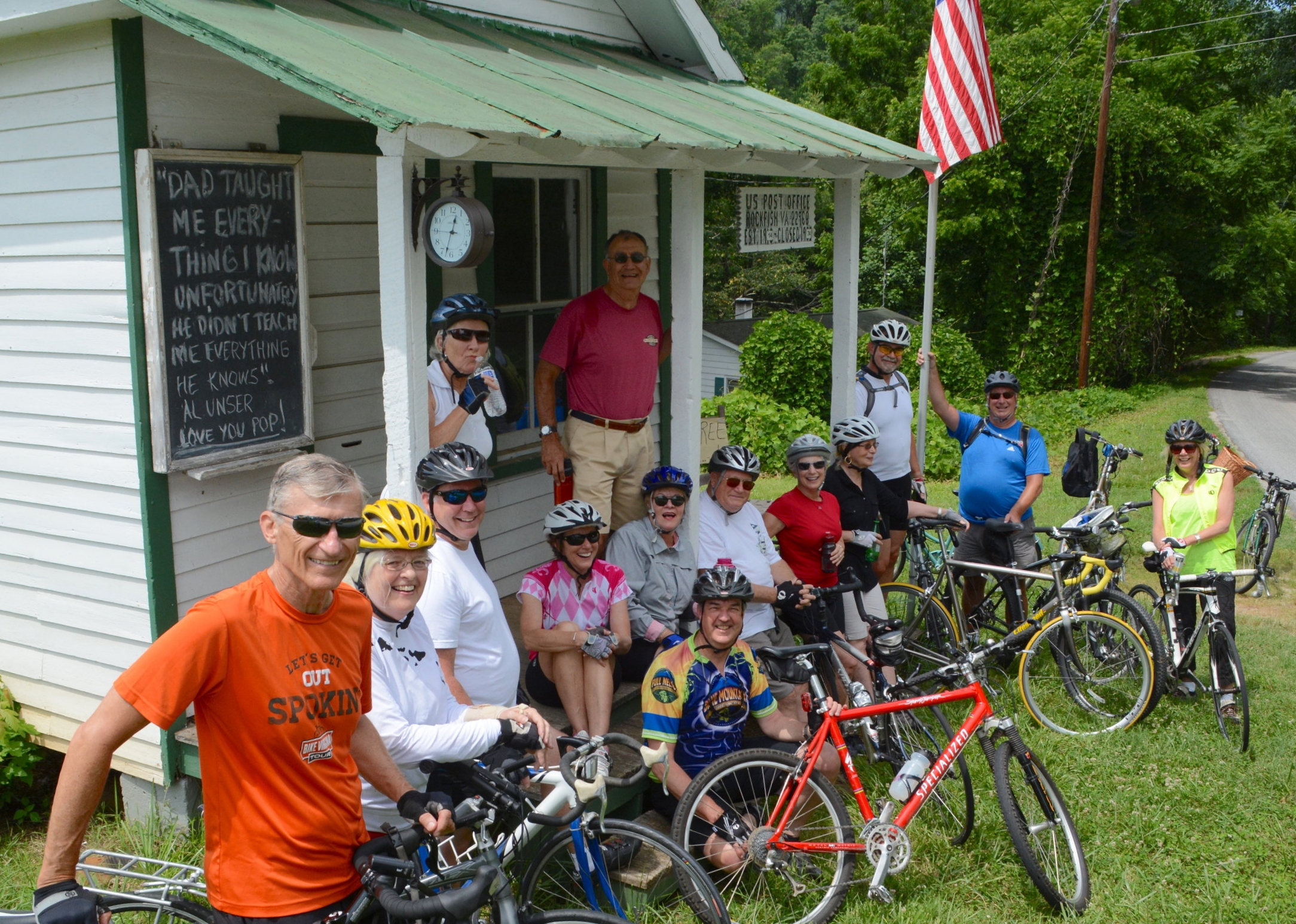 Group co-Lead Bob Browne (orange shirt in front) coordinated the inaugural WSC Bike ride with the other co-leads, Chuck Thornsvard and Barbara Fenton. Riders included Steve Lorenz, Patty Browne, Sally Bryant, Dennis Bryant, Eric Solomon, Barbara Fenton, Barb Graves, Tracy Hughes, Gary Madison, Joan Mummery, Steve Partridge, Susan Stewart and Chuck Thornsvard.