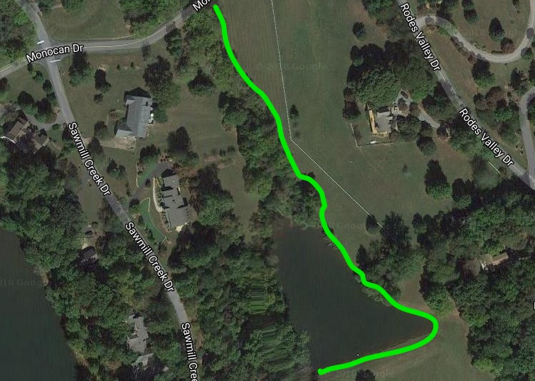 The green lines show the approximate locations of the access and fishing easements for Horse Pond. Park on the side of Monocan Drive.  Duck Pond  is East of the dam.   See Google Map HERE