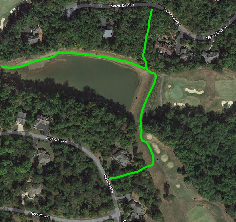THE GREEN LINES  HERE SHOW THE APPROXIMATE PATHS TO THE FISHING AREAS ON SMALLIE POND. From High Crest Lane, look for the walking path.         SEE GOOGLE MAP HERE