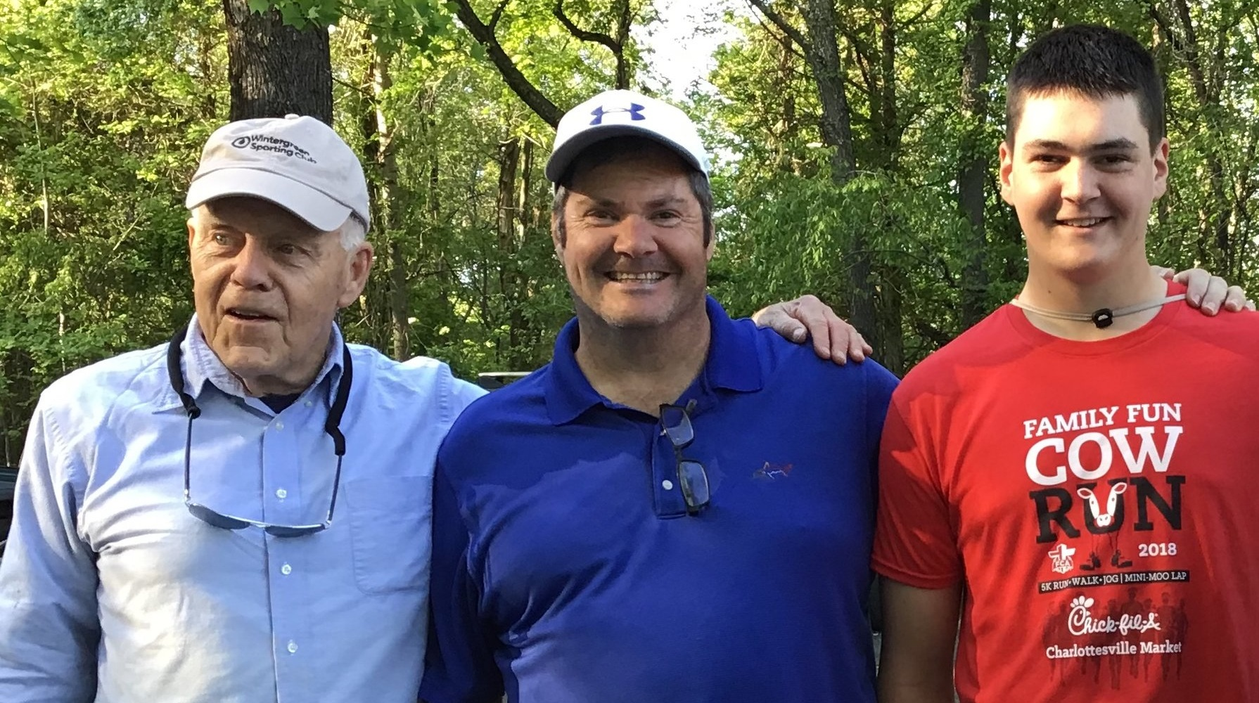 Bass tournament chief Bruce Henderson (left) with father-son team Tom and Brennan Stone