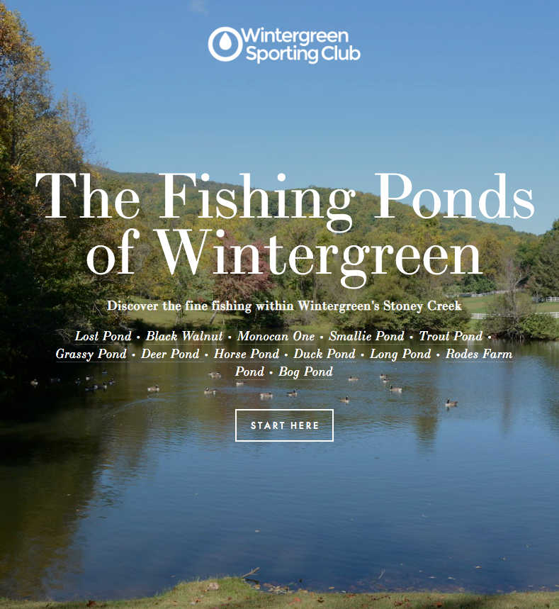 The club's Fishing Group maintains this online guide to the fishing ponds of Wintergreen