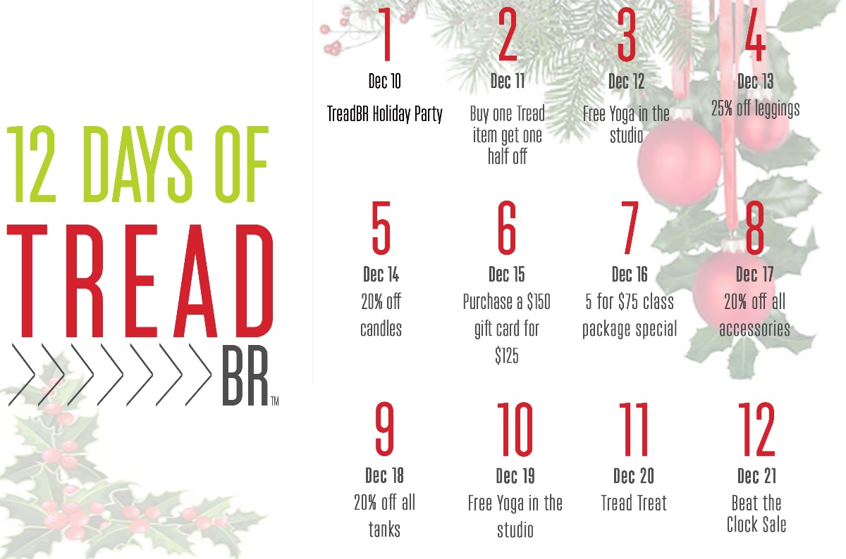 Our 12 Days of Tread are back!  Stock up on your Holiday Gifts all in one place! You won't want to miss these deals