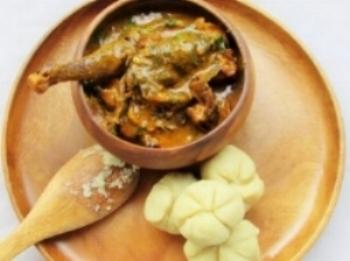 Ogbono soup and bulgur wheat dumplings. (Photo credit: Nigerian Lazy Chef)