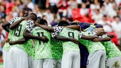 Unity is Strength - Nigeria's Super Eagles huddled before kicking off the second half versus England at Wembley in June 2018 (credit: Getty Images)