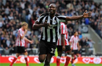 Shola Ameobi scoring for his hometown club Newcastle versus their local rivals Sunderland