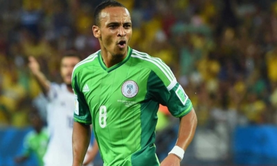 A delighted Peter Odemwingie (middle) after scoring Nigeria's goal in a 1-0 win over Bosia at the 2014 World Cup in Brazil (credit: Konbini)
